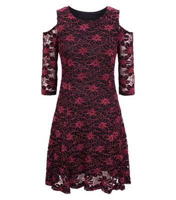 Blue Vanilla Burgundy Lace Cold Shoulder Skater Dress New Look