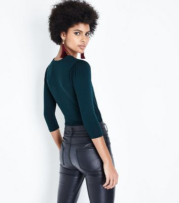 Dark Green Wrap Front Bodysuit New Look