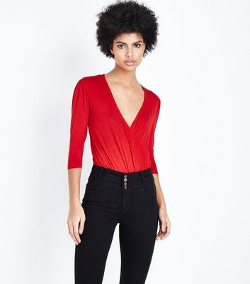 Red Wrap Front Bodysuit New Look