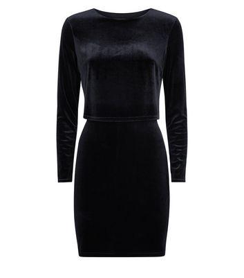 Black Velvet Layered A-Line Dress New Look