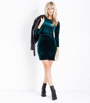 Dark Green Velvet Layered A-Line Dress New Look