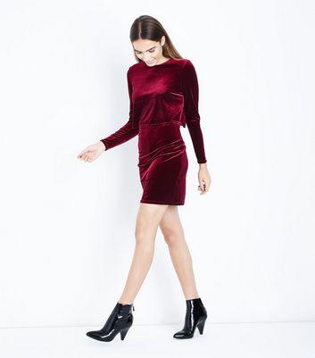 Burgundy Velvet Layered A-Line Dress New Look
