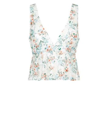 White Floral Print Lace Bralet New Look