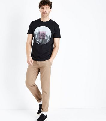 Black NYC Circular Print T-Shirt New Look