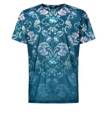 Blue Faded Floral Print T-Shirt New Look