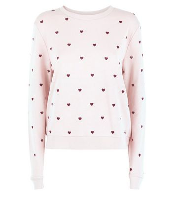Shell Pink Heart Embroidered Sweatshirt New Look