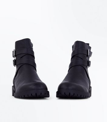 Black Strap Buckle Side Biker Boots New Look