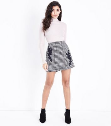 Black Check Floral Lace Patch Mini Skirt New Look