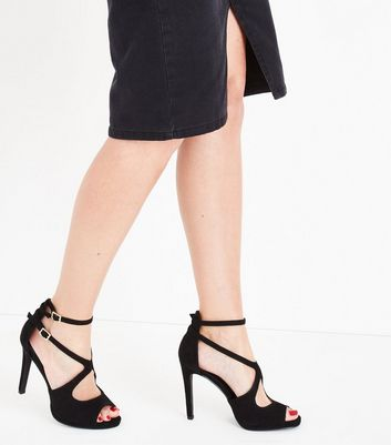 Black Suedette Cross Strap Peep Toe Heels New Look