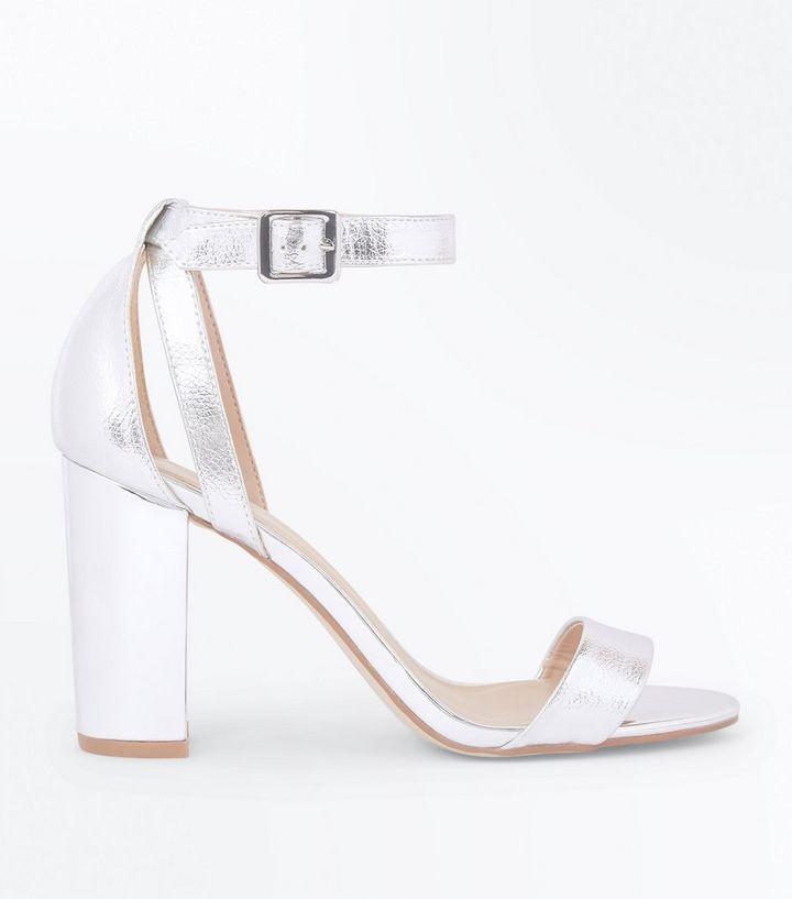 0e774b67b05 Silver Metallic Block Heel Sandals