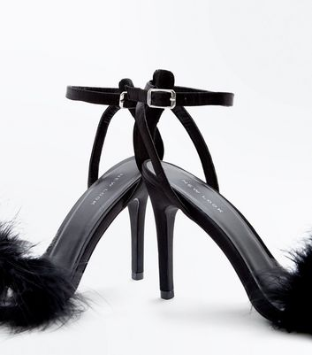 Black Suedette Faux Feather Strap Stiletto Sandals New Look