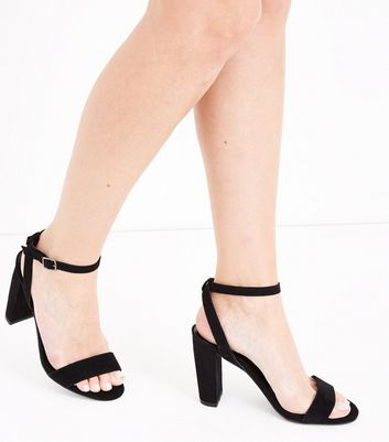 Black Suedette Ankle Strap Block Heels New Look