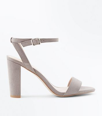 Grey Suedette Ankle Strap Block Heels New Look