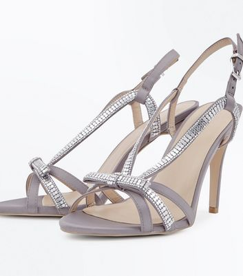 Grey Satin Embellished Bow Strappy Sandals New Look