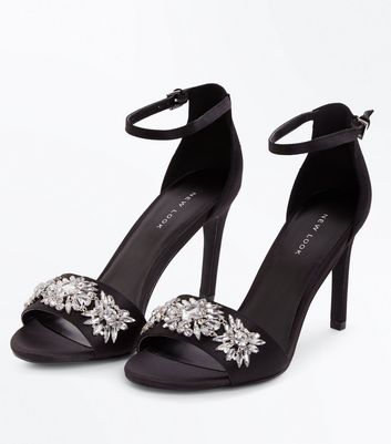 Black Satin Floral Gem Embellished Stiletto Sandals New Look