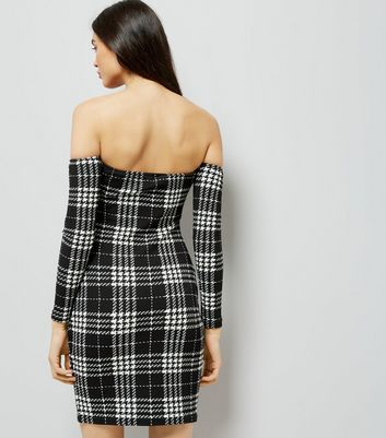 Parisian Black Check Bardot Neck Bodycon Dress New Look