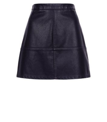 Petite Black Leather-Look Mini Skirt New Look