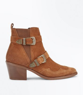 Tan Premium Suede Double Buckle Western Boots New Look
