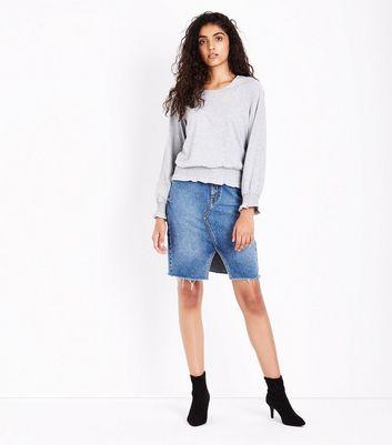Mid Grey Shirred Cuff Long Sleeve Top New Look