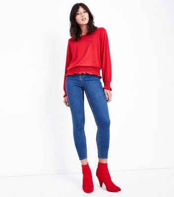 Red Shirred Cuff Long Sleeve Top New Look