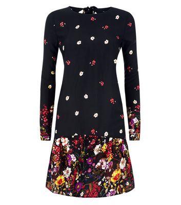 Tall Black Floral Border Print Drop Waist Playsuit New Look