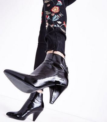 Tall Black Floral Embroidered Skinny Jeans New Look