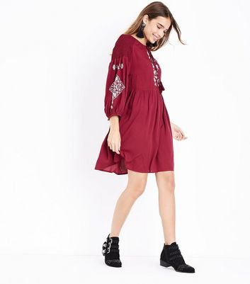 Tall Burgundy Embroidered Smock Dress New Look