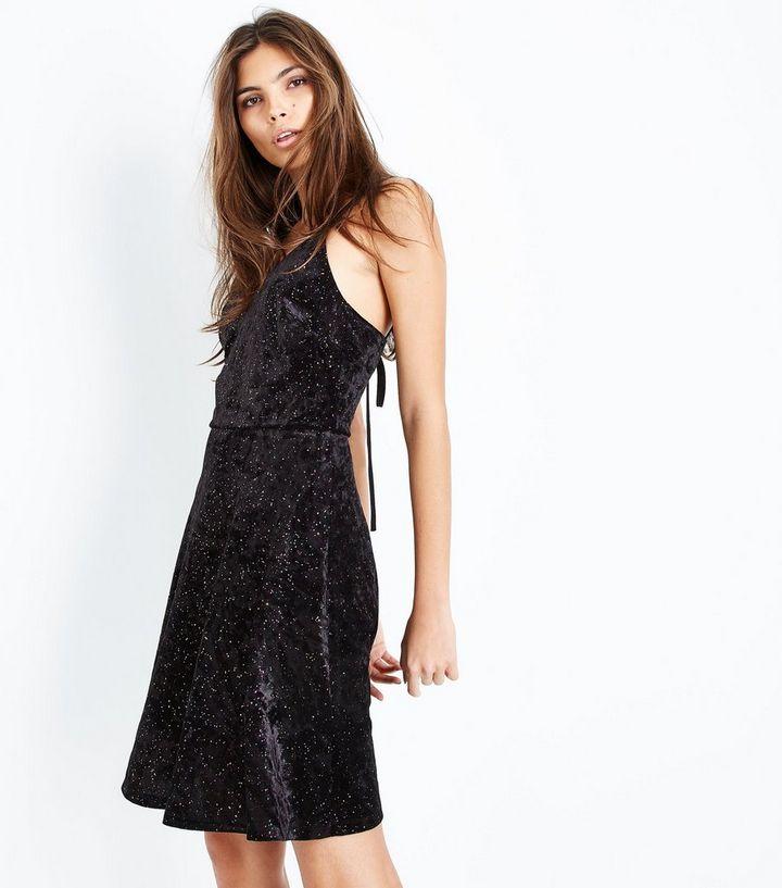 9908b445793d Tall Black Glitter Velvet Lace-Up Back Skater Dress | New Look
