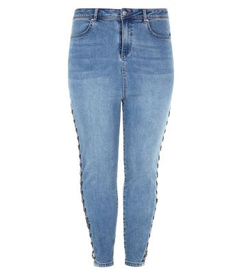 Curves Blue Lace Up Side Skinny Jeans New Look