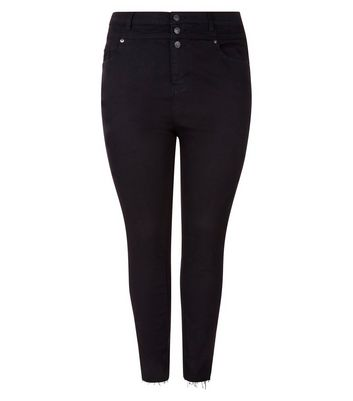 Curves Black High Waist Button Front Skinny Jeans New Look