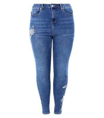 Curves Blue Floral Embroidered Skinny Jeans New Look