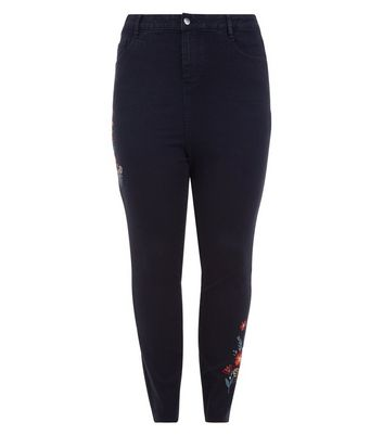 Curves Black Floral Embroidered Skinny Jeans New Look