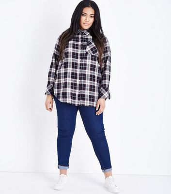 Curves Navy Check Long Sleeve Shirt New Look