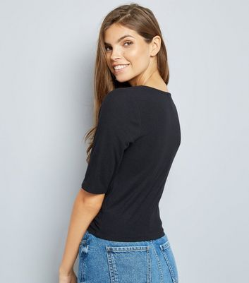 black-ruched-front-34-sleeve-top