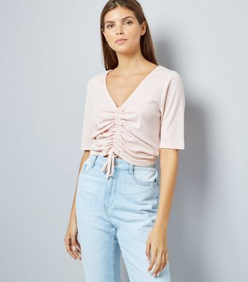 Shell Pink Ruche Front Ribbed Top New Look