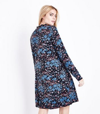 Black Floral Jersey Swing Dress New Look