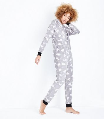 Light Grey Polar Bear Onesie New Look