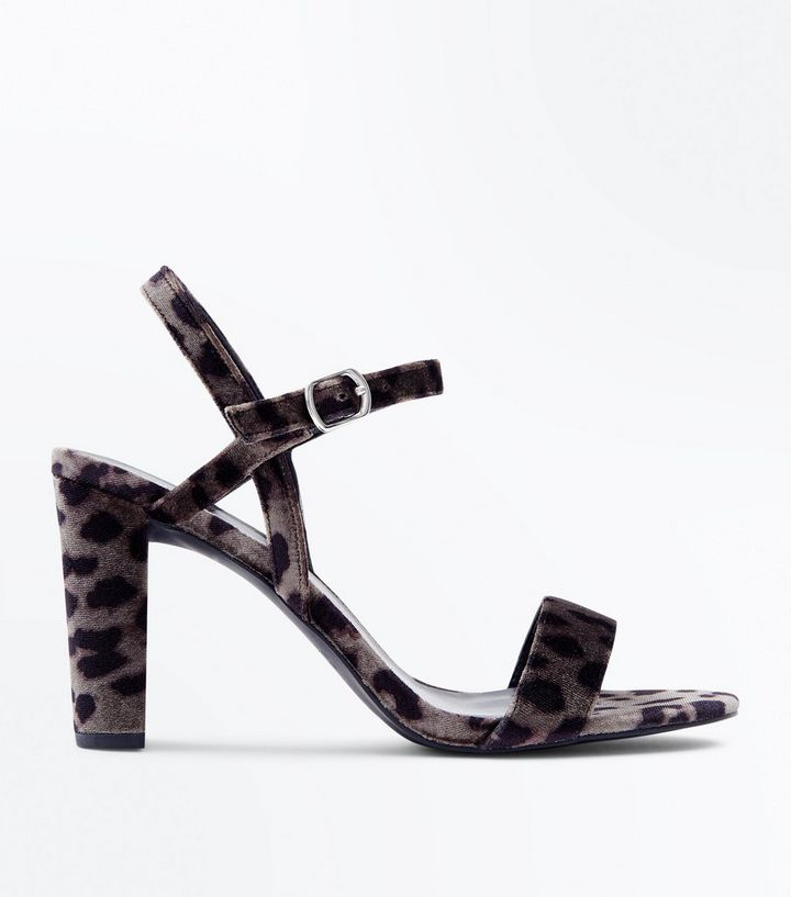 211214cc1f7 Wide Fit Grey Leopard Velvet Block Heel Sandals Add to Saved Items Remove  from Saved Items