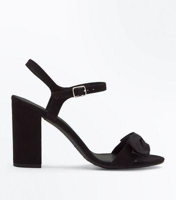 Wide Fit Black Velvet Bow Block Heel Sandals New Look
