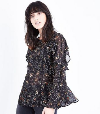 Black Star Floral Print Frill Sleeve Top New Look