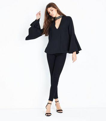 Black Beaded Choker Neck Bell Sleeve Top New Look
