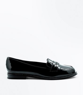 Wide Fit Black Patent Diamante Trim Loafers New Look