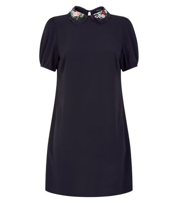 Black Embroidered Collar Tunic Dress New Look