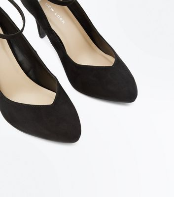 Wide Fit Black Suedette Ankle Strap Court Heels New Look