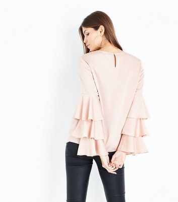 Nude Tiered Sleeve Top New Look