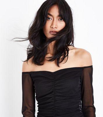 Black Mesh Sweetheart Bardot Neck Bodycon Dress New Look