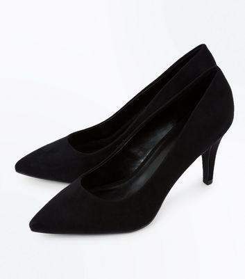 Wide Fit Black Suedette Mid Heel Court Shoe New Look