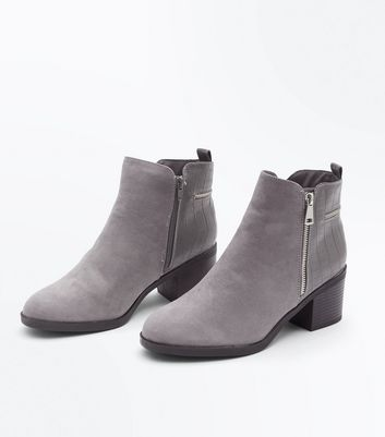 Wide Fit Grey Comfort Croc Texture Ankle Boots New Look
