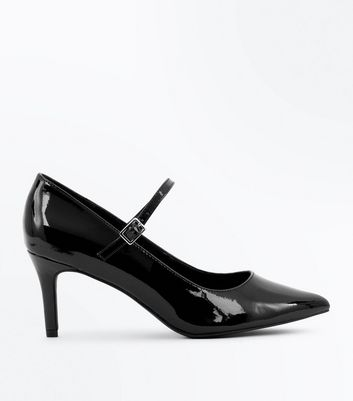 Wide Fit Black Patent Pointed Mary Jane Shoes New Look