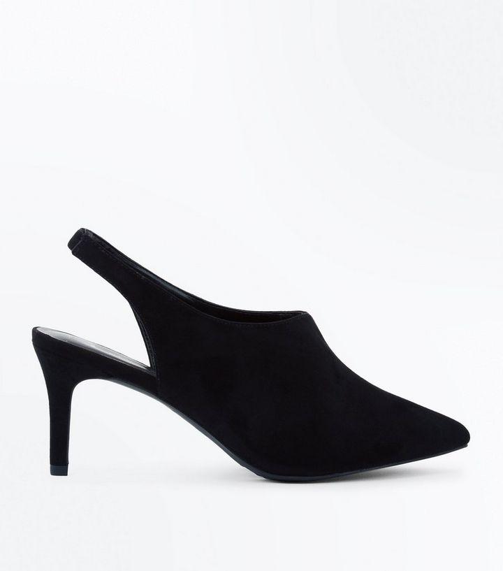 b942286c4fd Wide Fit Black Suedette Slingback Shoe Boots